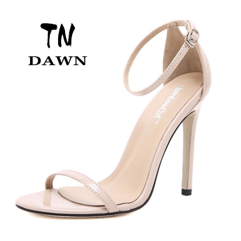 595788b4079 New Sexy High Heels Pointed Toe Buckle Strap Ladies Fashion Elegant Solid  Color Thin Pumps Sandals