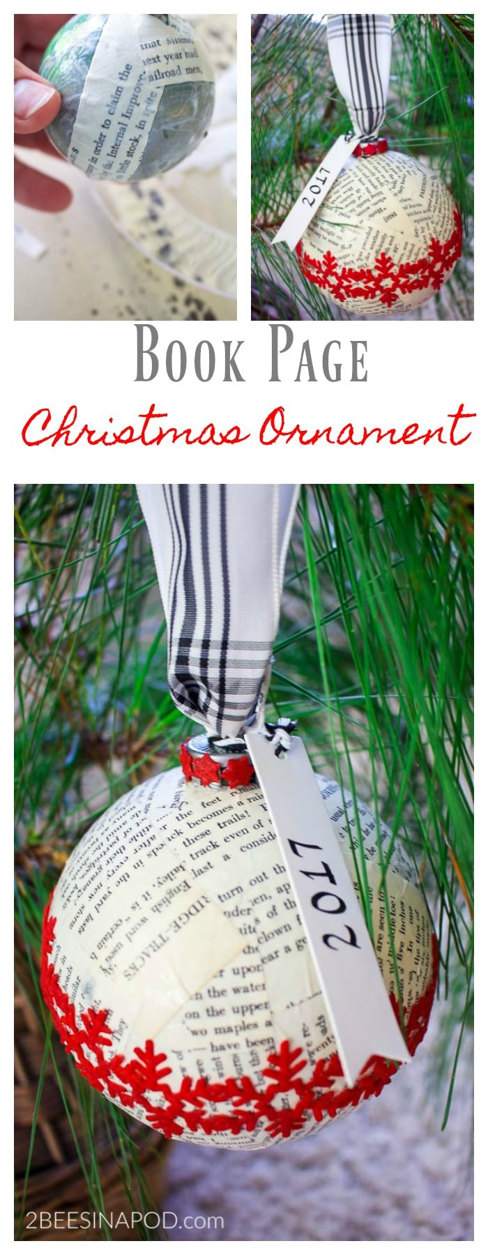 Book page christmas ornament and exchange christmas ornaments
