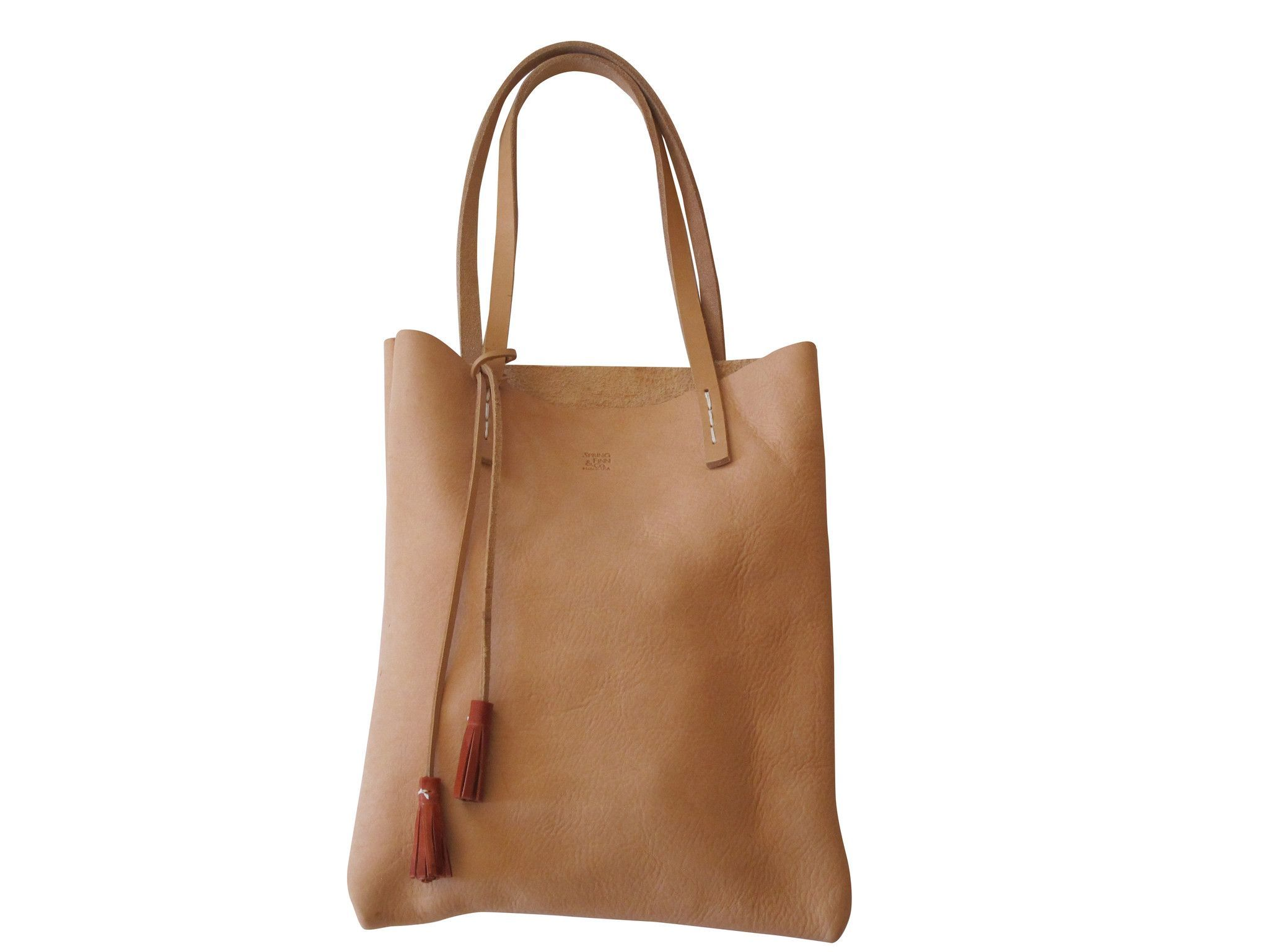 Milled vegetable tanned leather tote bag, SABLE