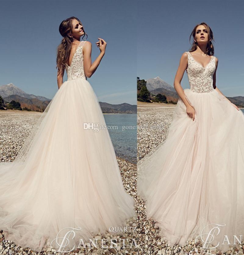 Summer Beach Wedding Dresses 2017 V Neckline Sleevesless Lace Bodice ...