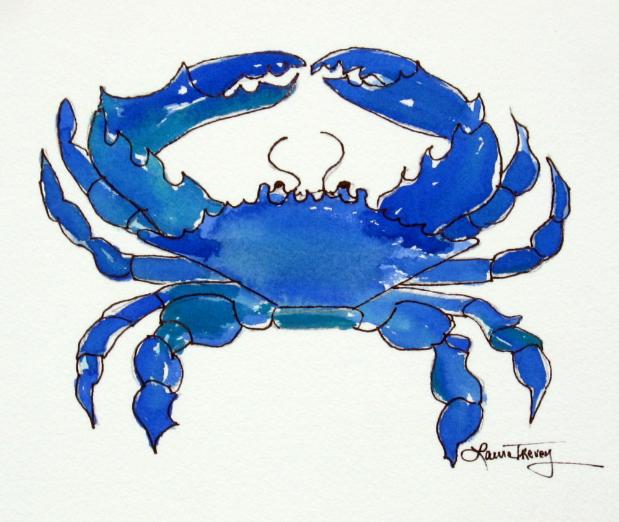 Blue Crab Blue Blue Crab Watercolor Crab Watercolor Crab Art