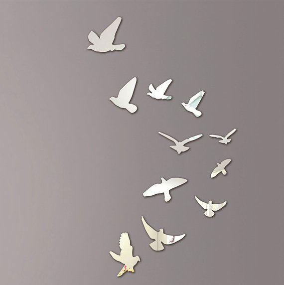 Mur Décoratif Miroir Flying Birds. Mirror Wall ArtMirror ...