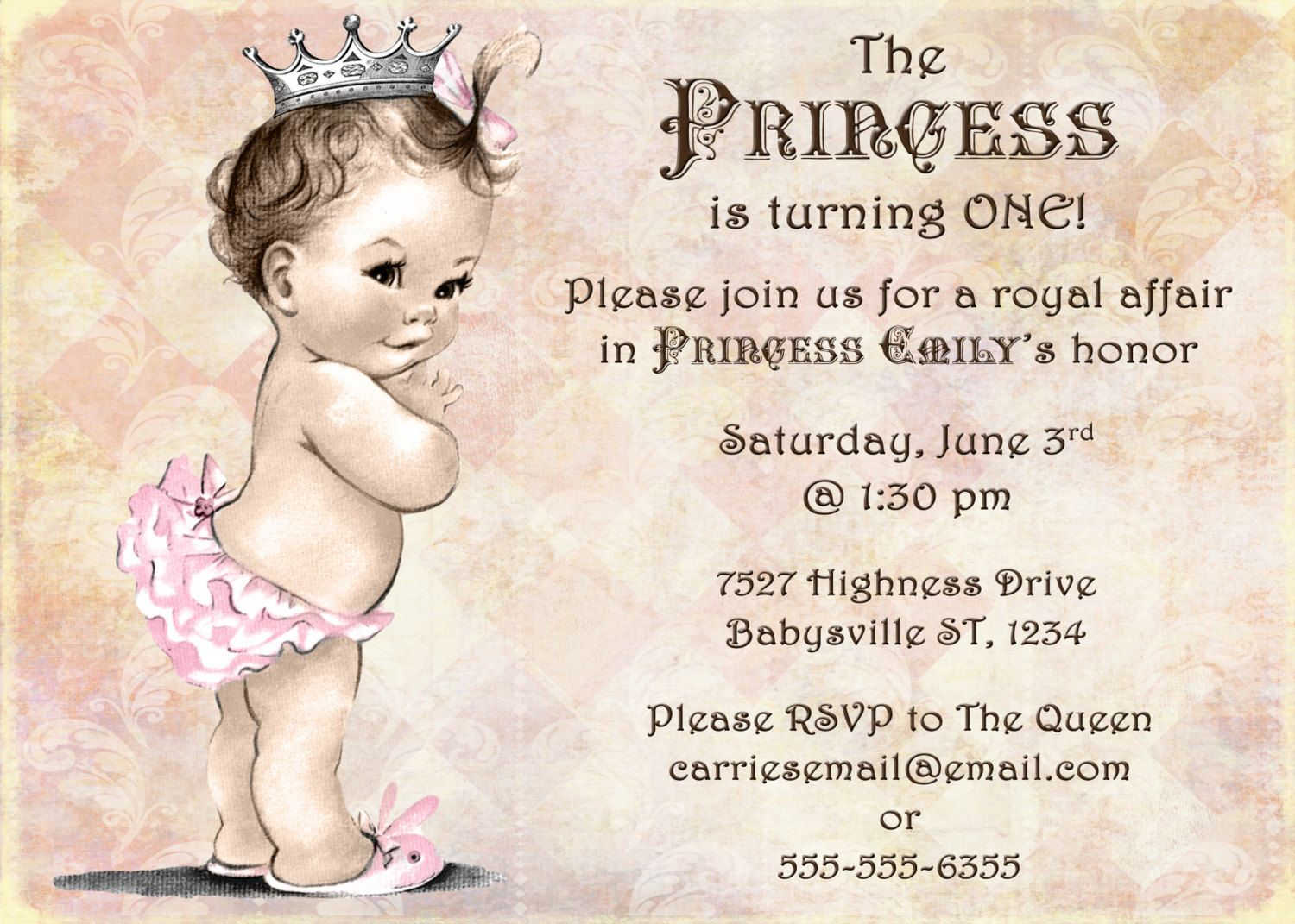 Princess Birthday Invitation For Girl Princess Party First – Diy Princess Party Invitations