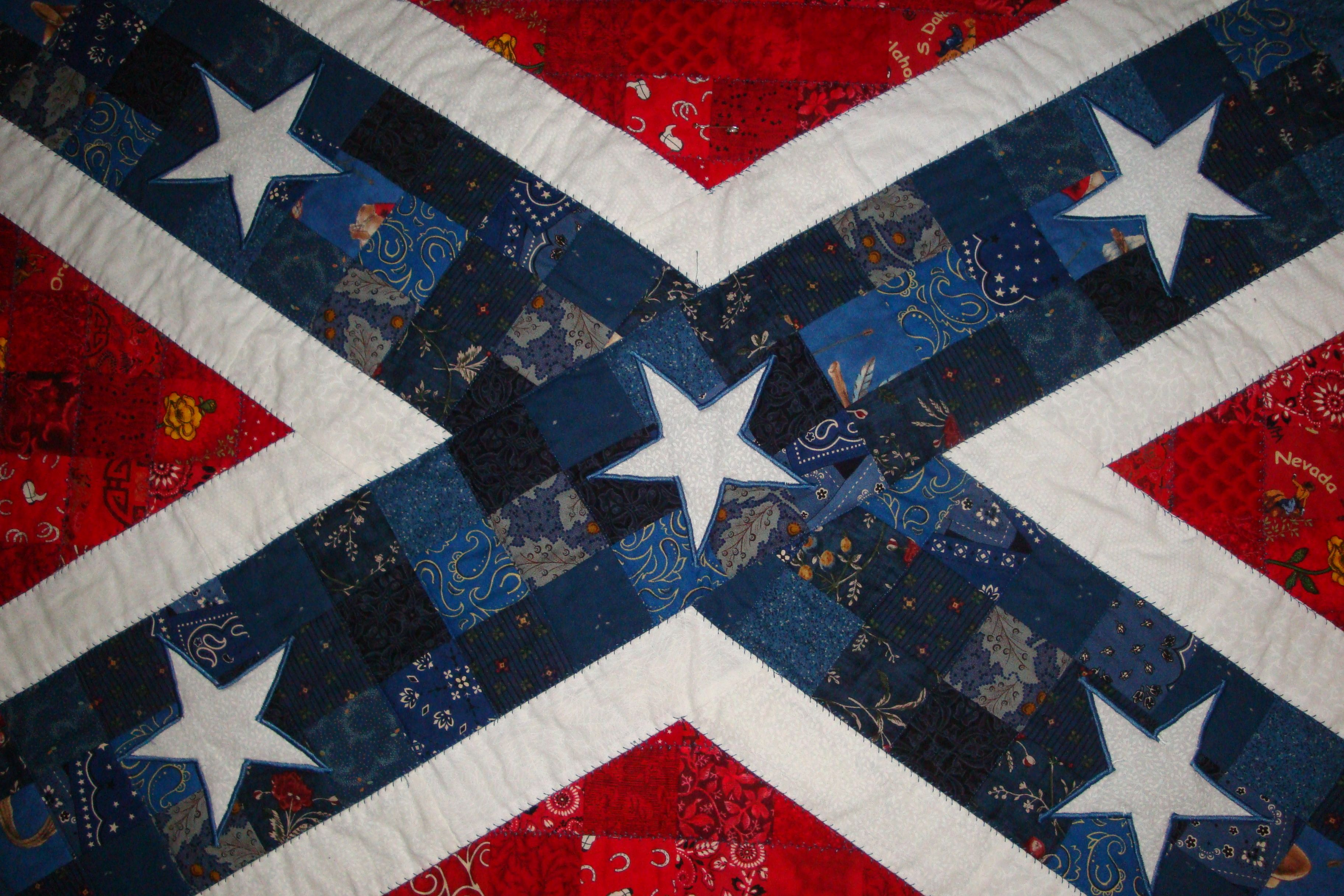 Detail Quilting Of The Confederate Flag Quilt I Satin Stitched The