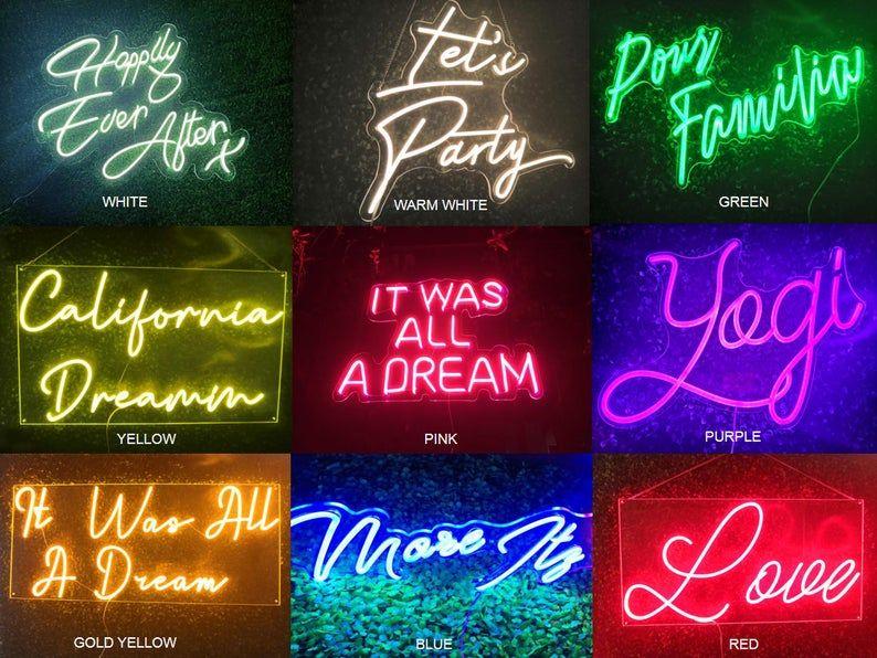 Custom Name Neon Sign LED Neon Lights Home Decor Kids Name ...
