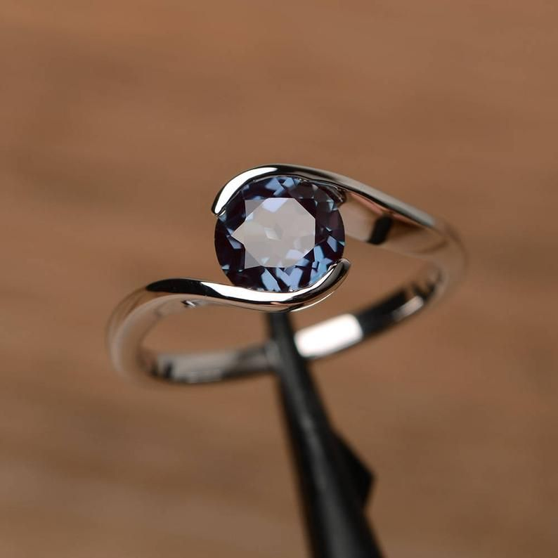 Alexandrite Rings Engagement Rings Round Cut Color Changing Gemstone Ring Sterling Silver Ring Lovely Rings