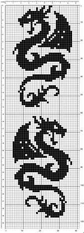 Ravelry: Dragonscarf pattern by Tina13 Another knitting pattern that can be used as a cross stitch pattern.