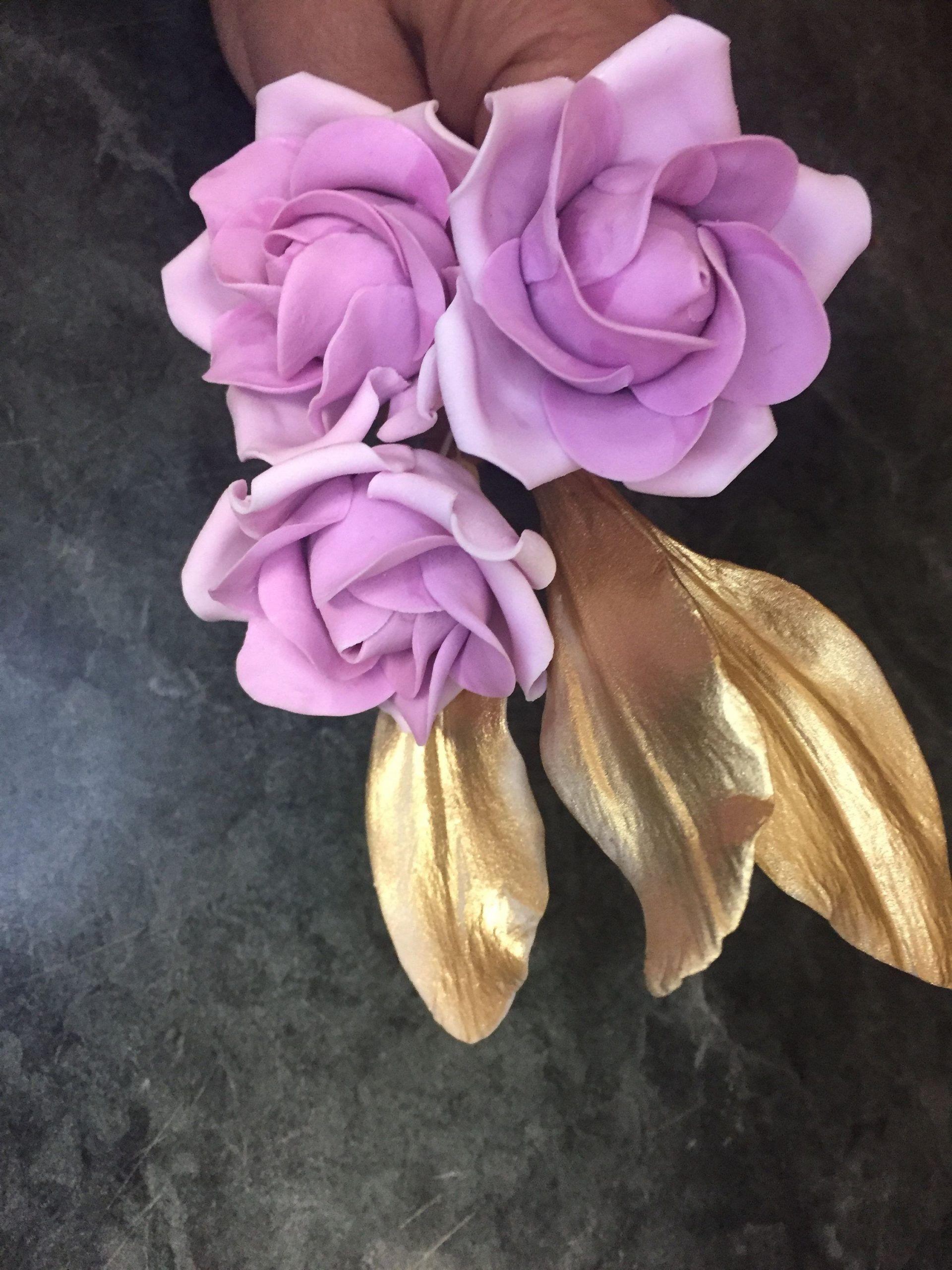 Edible ombre lavender gumpaste rose bouquet 3 roses with