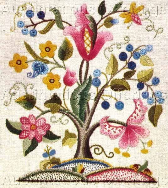 Rare chrimes jacobean tree of life crewelembroidery kit