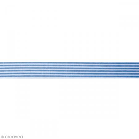 Fabric tape thermofixable - Bandes bleues jeans - 15 mm x 5 m #fabrictape