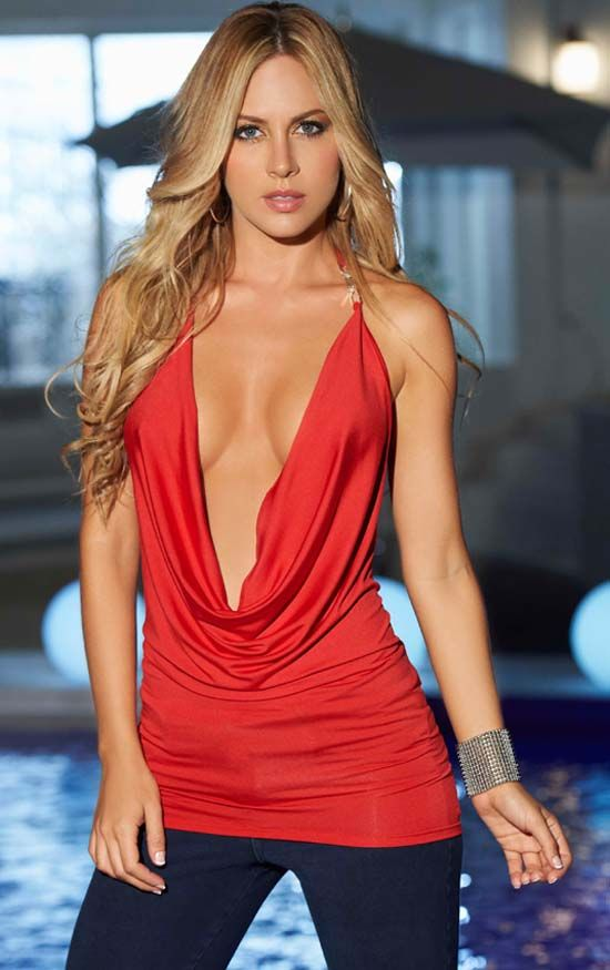 70cf623d40e Low Cut Red Cowl Halter Top with Embellished Strap