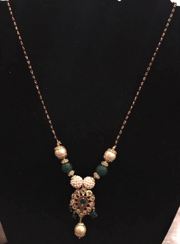 b221842f48f Black bead Mangalsutra with CZ green polki pearl drop pendant ...