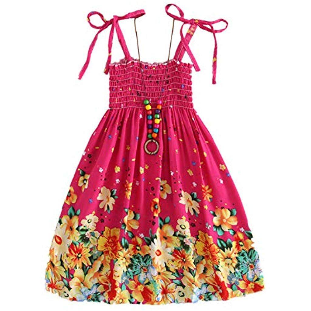 6e84262f2d28 Minuya Vestido niña Verano Correas sin Mangas de algodón/Estilo Bohemio  Vestidos de Playa para