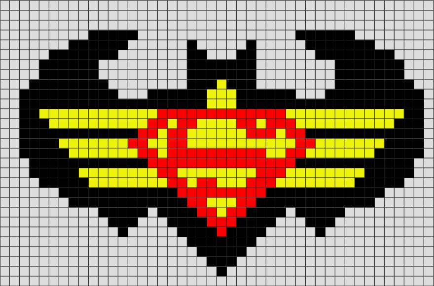 Batman And Superman Pixel Art Pixel Drawing Pixel Art