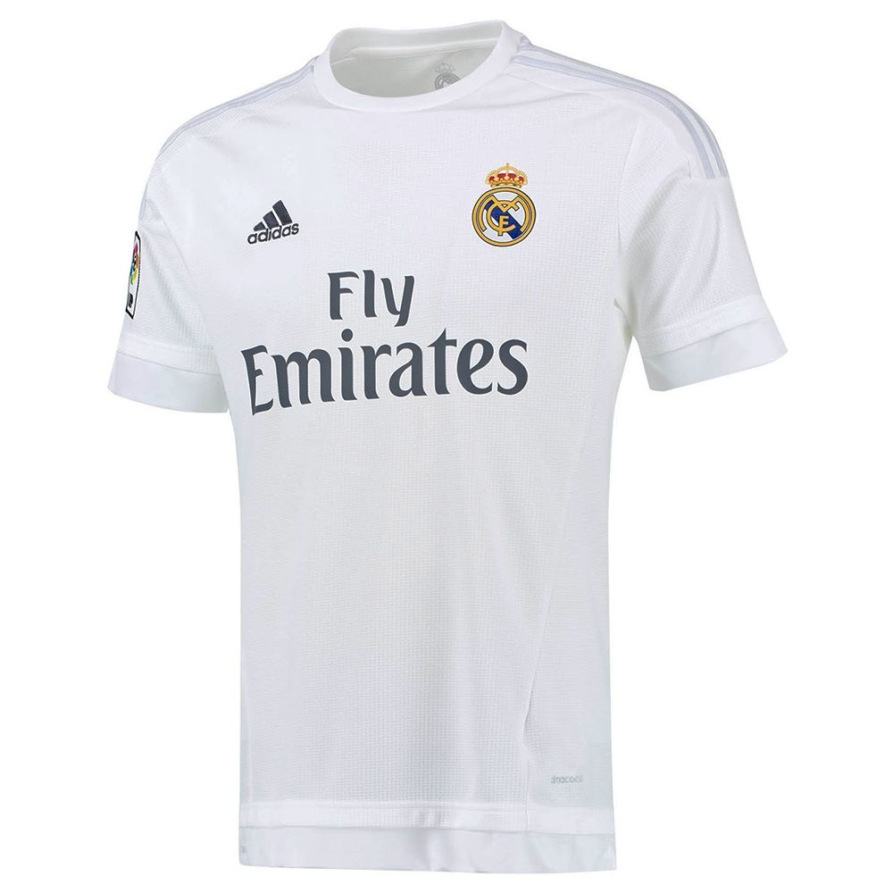 9cde4e85713 Adidas Real Madrid Home  15- 16 Soccer Jersey (White Clear Grey ...