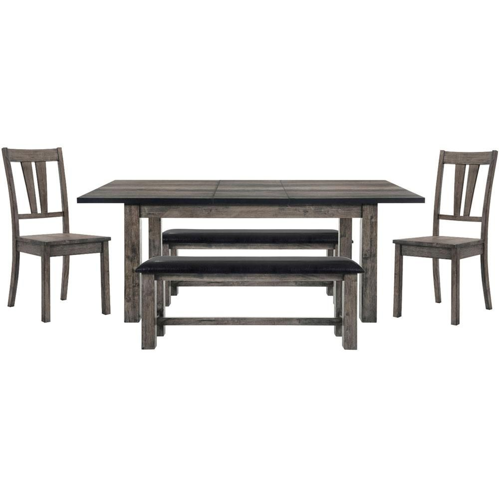Cambridge Drexel 5 Piece Weathered Gray Dining Set Table 2 Wooden Side Chairs And 2 Benches Weathered Grey Dining Set With Bench Side Chairs Black Dining Room Furniture