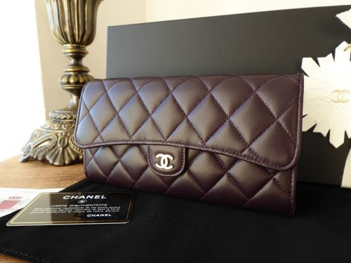 f330222f38ed Chanel Classic Flap Quilted Continental Wallet in Dark Purple Lambskin with  Gold Hardware - SOLD