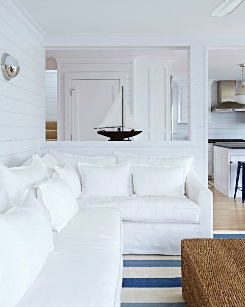 White Slip Covers & Slip Covered Sofas for Coastal Living #beachcottageideas