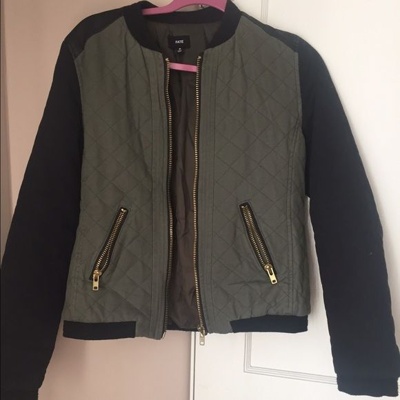 Moving Sale Faux Leather Quilted Bomber Jacket Utility Jacket