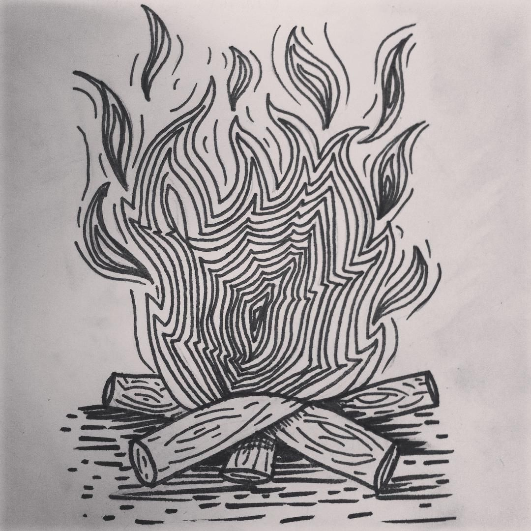 fogata #scketch #tintachina #fire #wood #woodfire | tatuaje
