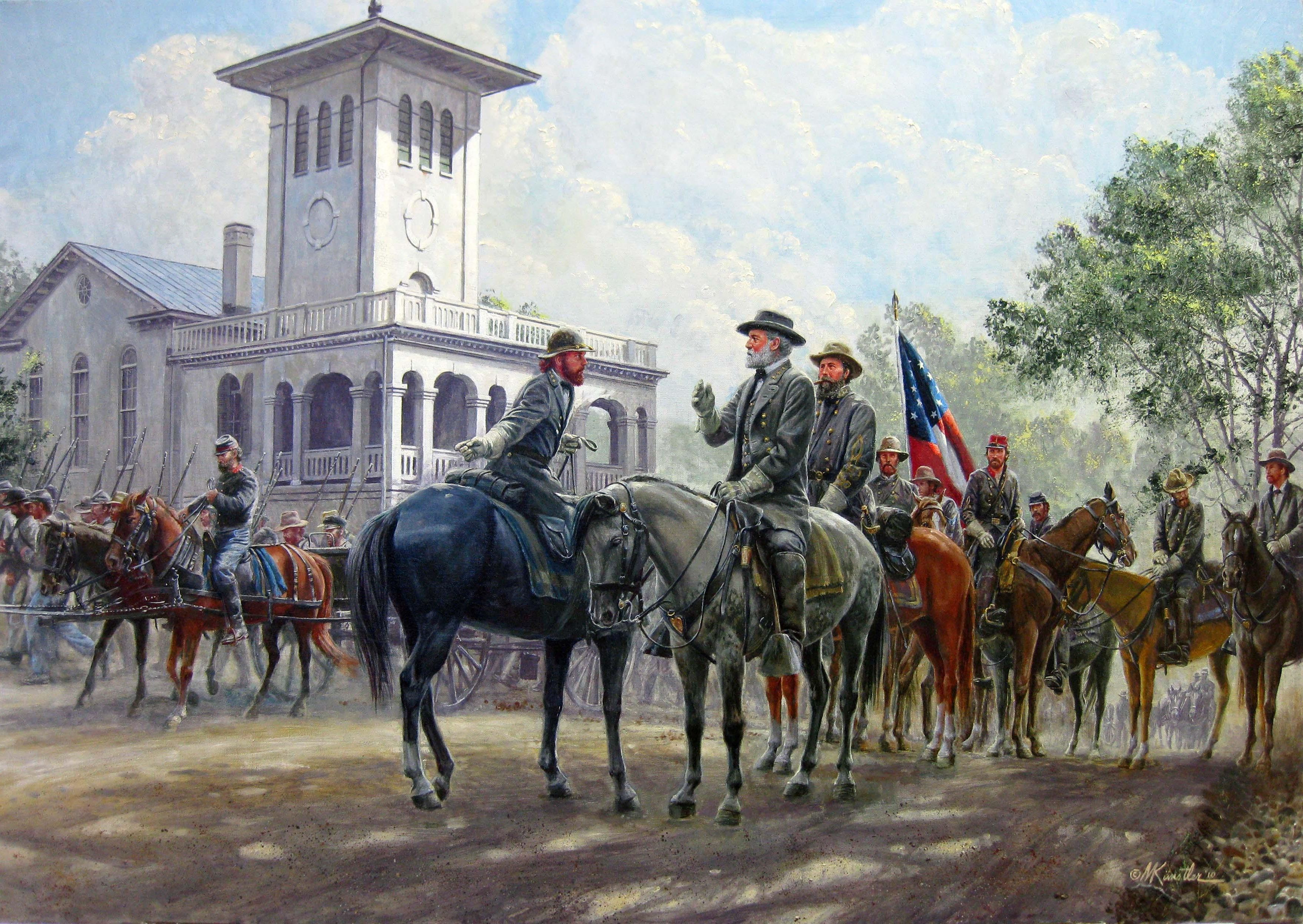 Robert E Lee And His Staff Painted By Mort Kunstler For