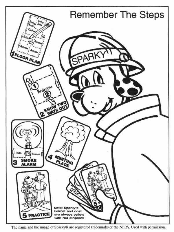 Fire Truck Fireman Firedog Printable Coloring Page Firetruck
