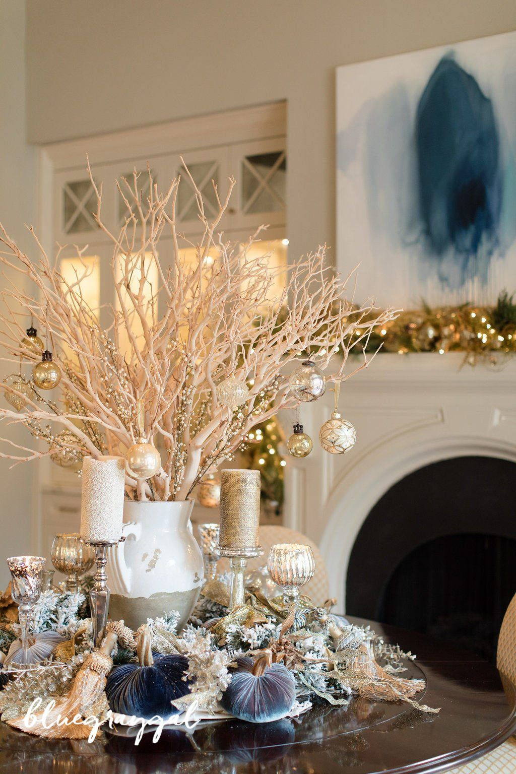 Easy Dining Room Centerpiece Using Manzanita Branches