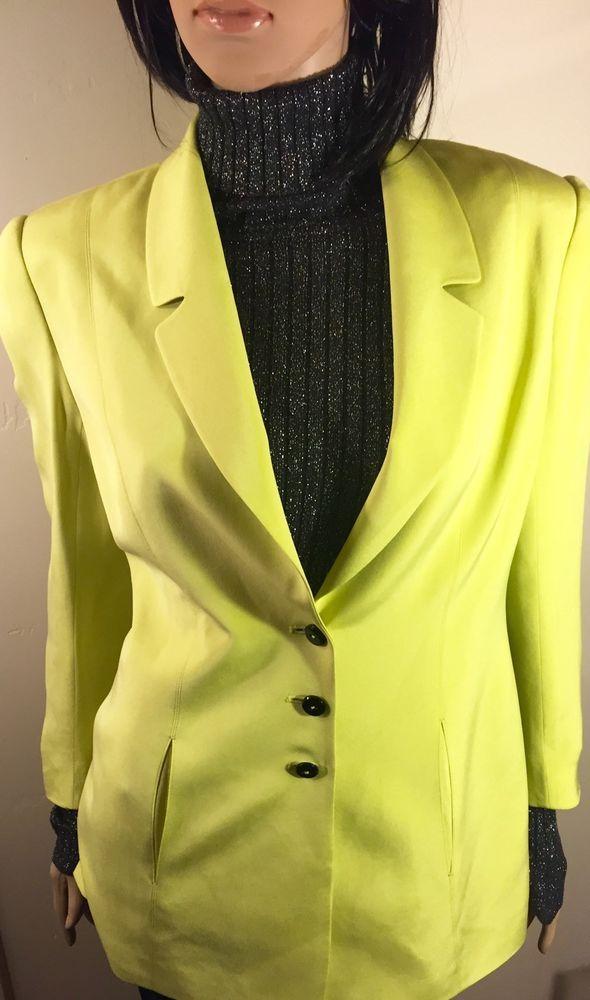 Dana Buchman 100% Silk Green Blazer Jacket. Size 4. #DanaBuchman #Blazer