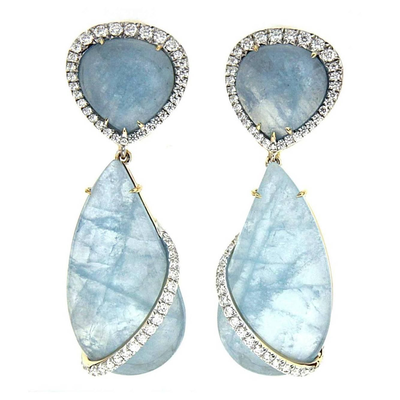 Aquamarine Diamond Gold Dangle Earrings   From a unique collection of vintage clip-on earrings at https://www.1stdibs.com/jewelry/earrings/clip-on-earrings/