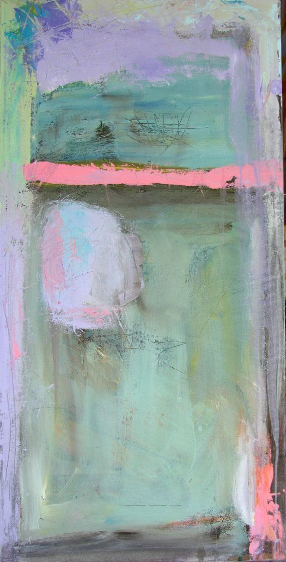 Acrylic Original Painting Abstract Painting Aqua Blue Pink