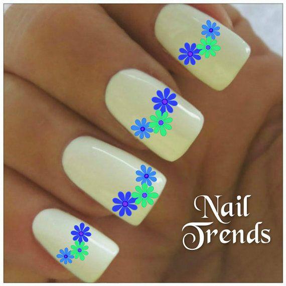 Flower Nail Decal 20  Vinyl Adhesive Decals Nail Tattoos  Nail