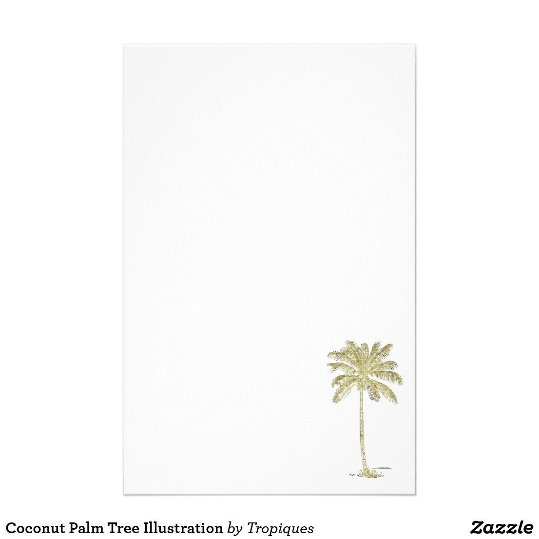 coconut palm tree illustration stationery print on demand my