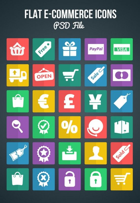 Free Flat eCommerce Shopping Icons (PSD) - Bloom Web Design