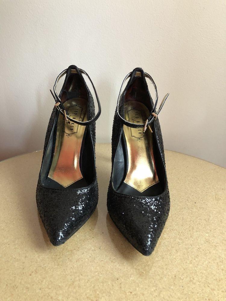 709900c60e635 Sparkly Ted Baker London Sament Black Sequin High Heels size 6 ...