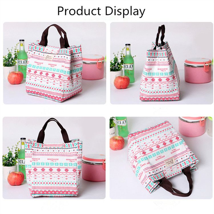 SaicleHome Hand-held Lunch Tote Bag Picnic Cooler Insulated