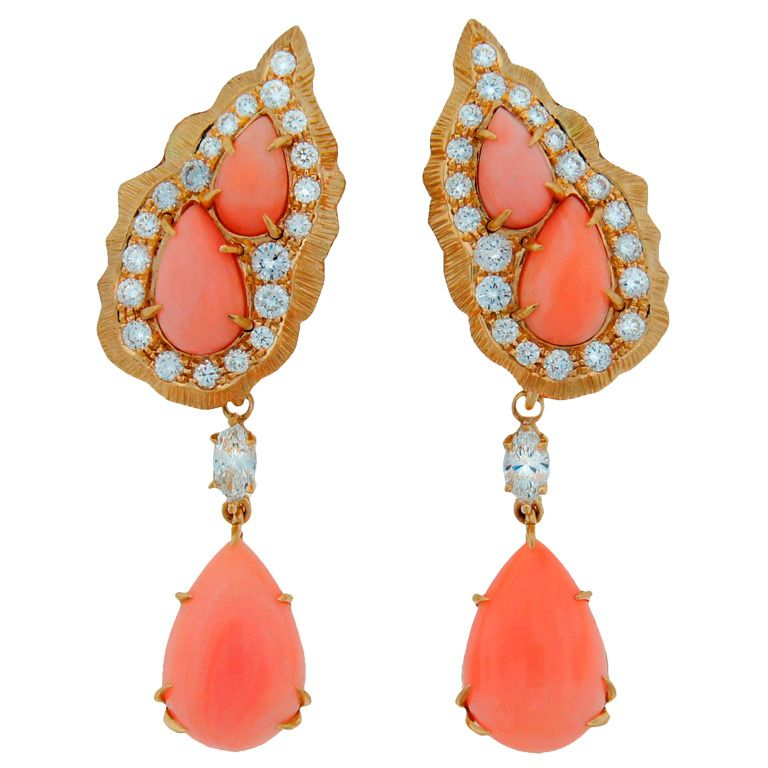 Coral And Diamond Interchangeable Earrings, Mounted In 18k Gold, By Cartier - France  c.1960's    1stdibs.com