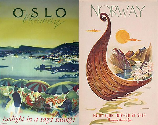 Vintage Norwegian Travel Posters Travel Posters Norway Travel - Norway map poster