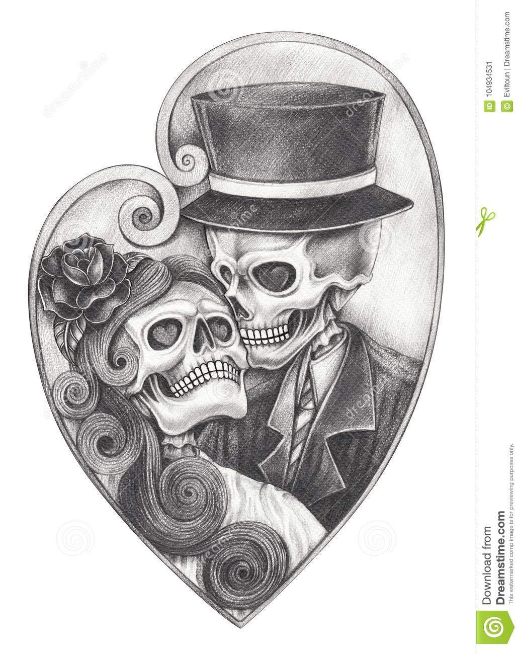 Photo about art design surreal heart mix wings devil skull hand pencil drawing on paper illustration of ghost bride anatomy 104934531