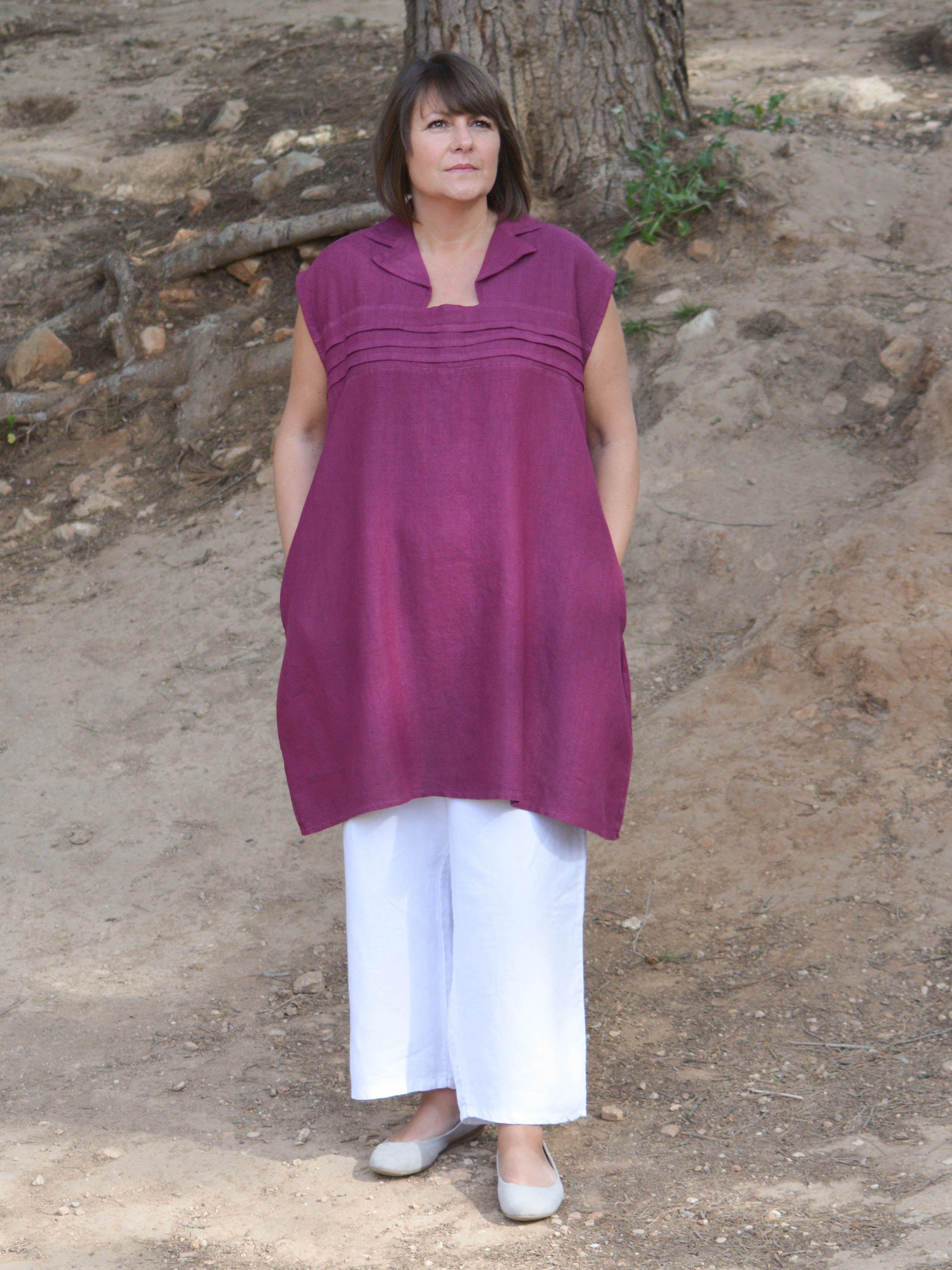 4f042ba61c Plus Size Lagenlook Heavy Linen Collared Tunic Dress Quirky Heavy Linen  Plus Size Tunic Dress Collared