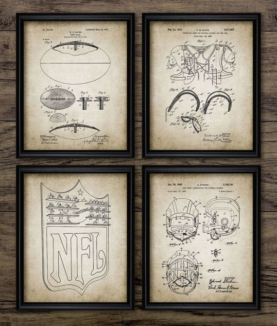 Vintage Football Patent Print Blueprint Wall Art Gift Home Decor Mancave Set Of 4 Prints 414 Instant