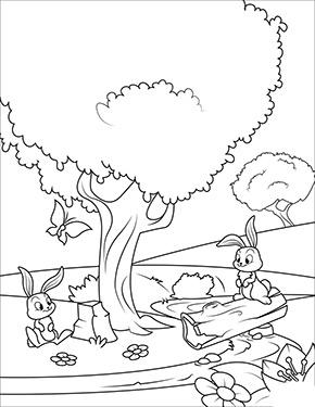 Ausmalbild Fruhling Osterhasen Im Wald Lustige Malvorlagen Ausmalbilder Fruhling Malvorlagen Zum Ausdrucken