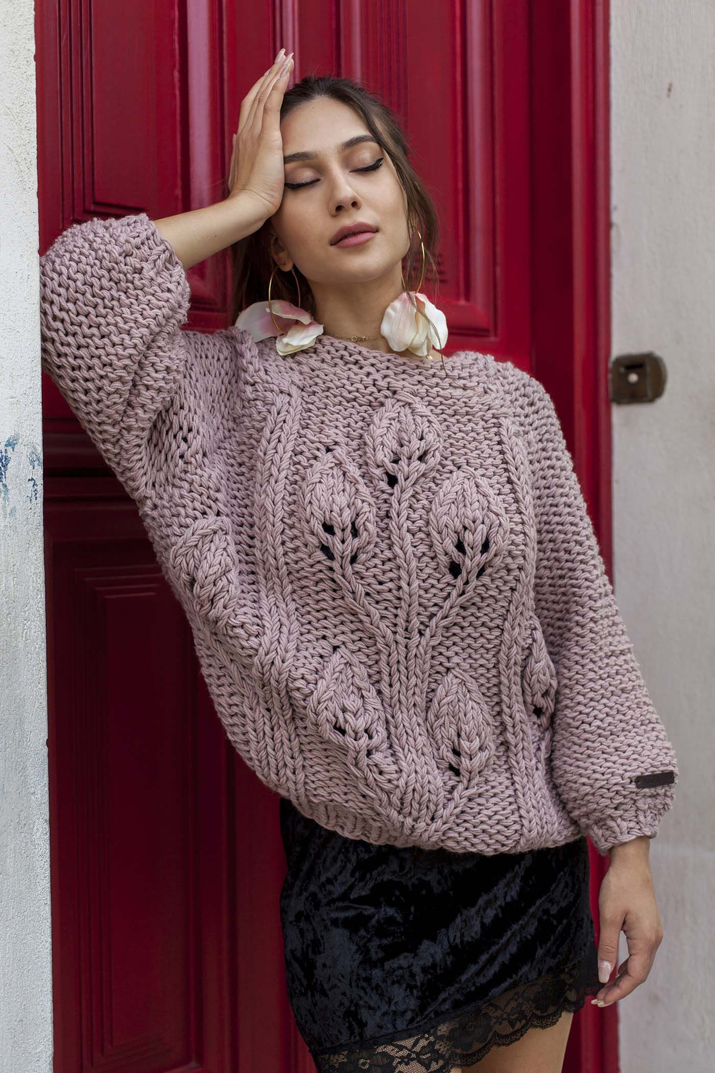 e1cd6b20d301 Ροζ Πλεκτό Πουλόβερ Sweater knitted fashion winter 2018 bloeur bloeur.gr  woman