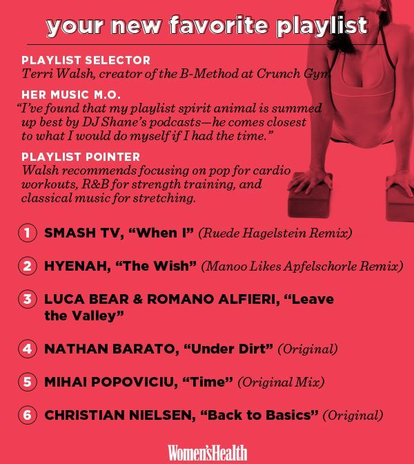 25 Playlists for Every Possible Workout Routine on the Planet  http://www.womenshealthmag.com/fitness/workout-playlists