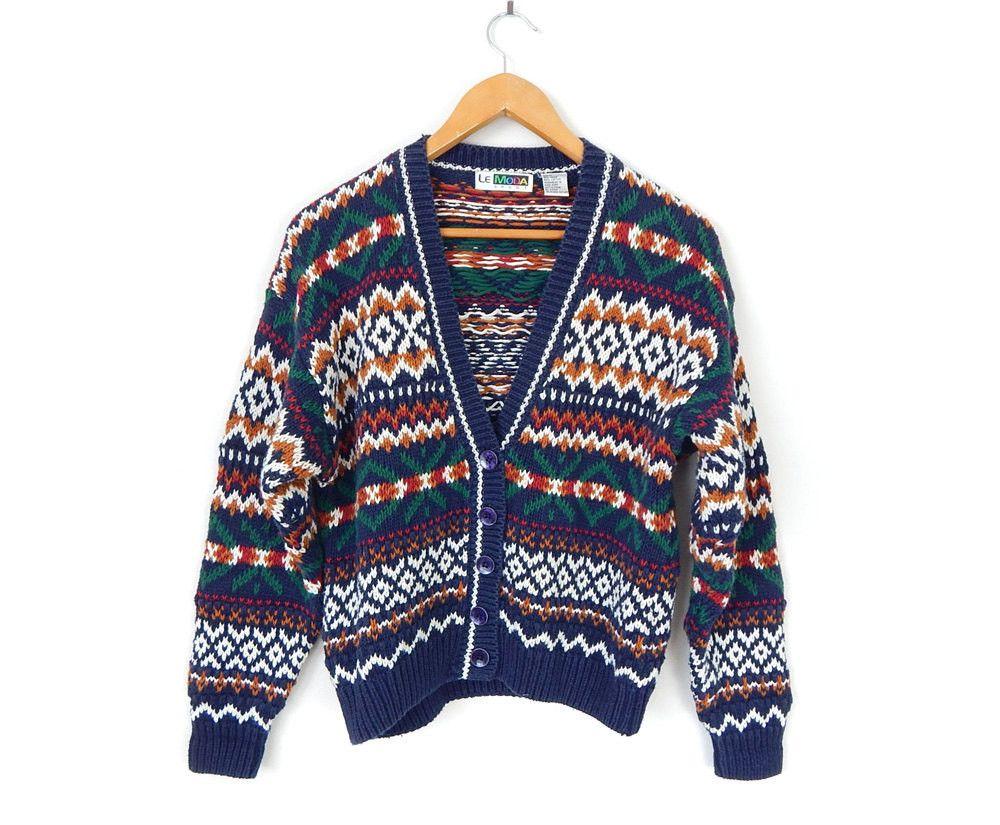 Vintage 90s Fair Isle Women's Cardigan Sweater - Size Medium ...