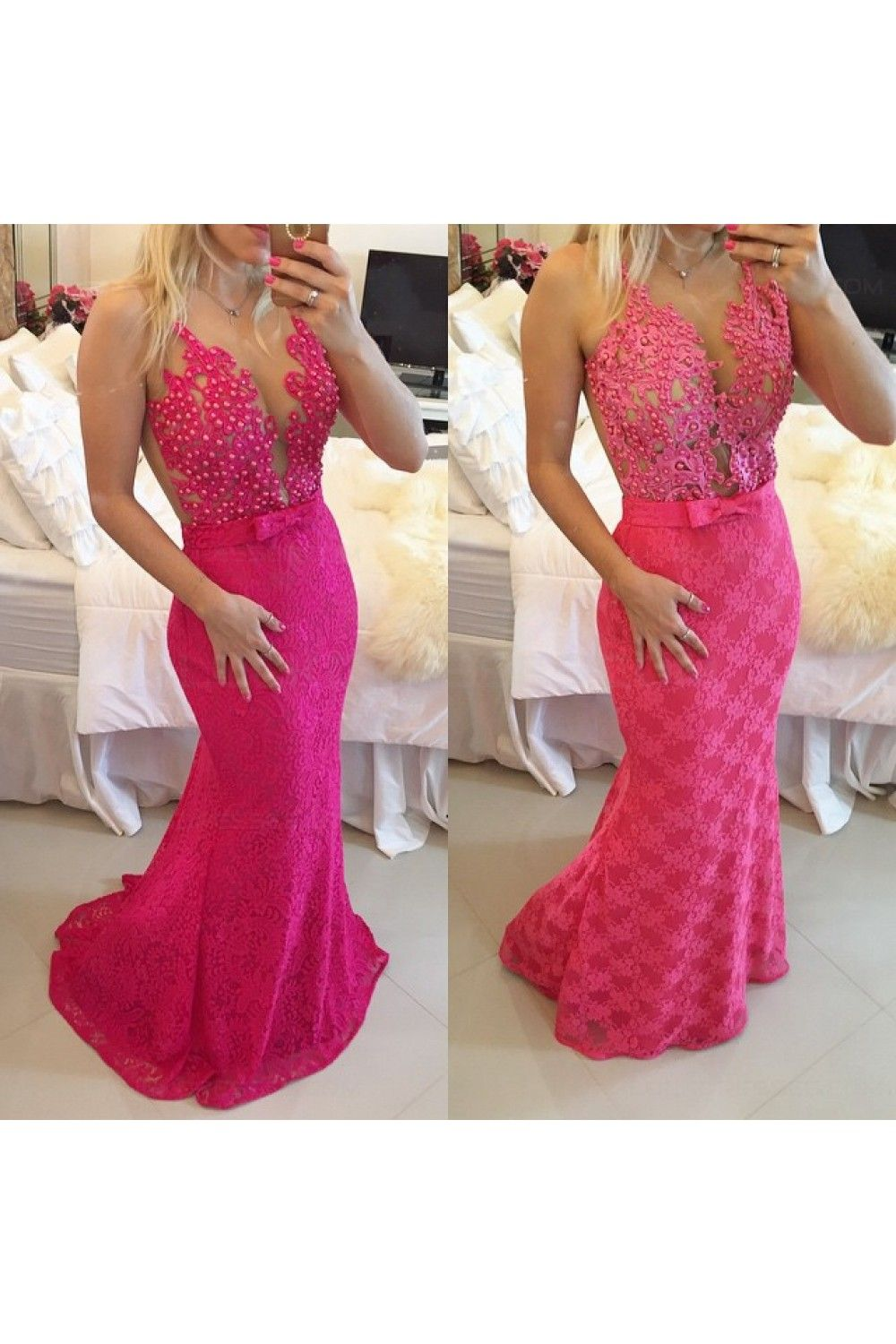 Trumpetmermaid lace long see through prom evening formal dresses