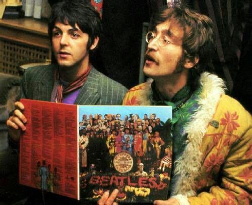 Paul Mccartney And John Lennon Holding Sgt Pepper S