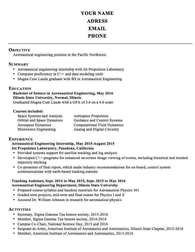 Resume Aeronautical Engineering Examples - http://exampleresumecv ...