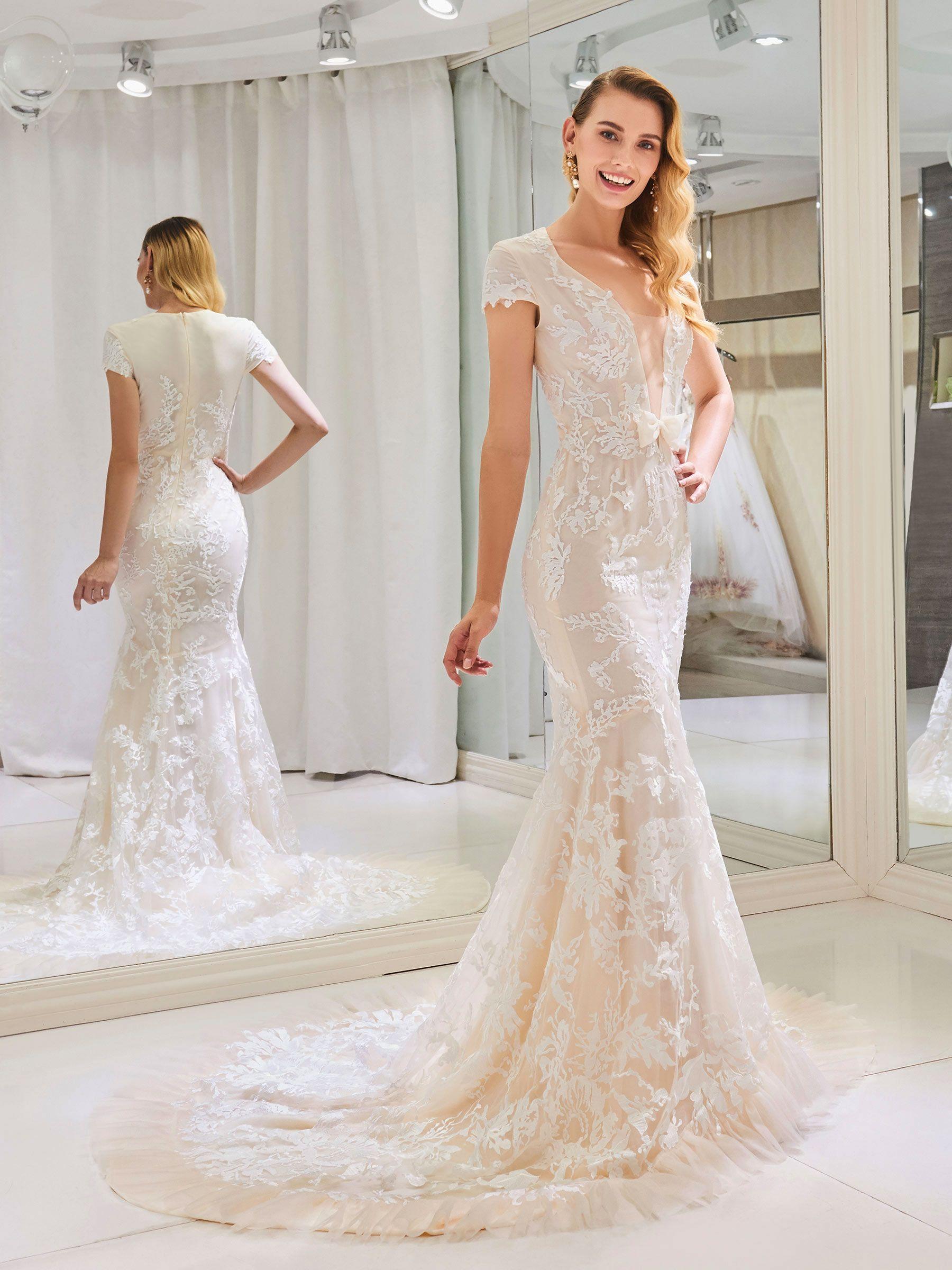 VNeck Cap Sleeve Appliques Lace Mermaid Wedding Dress
