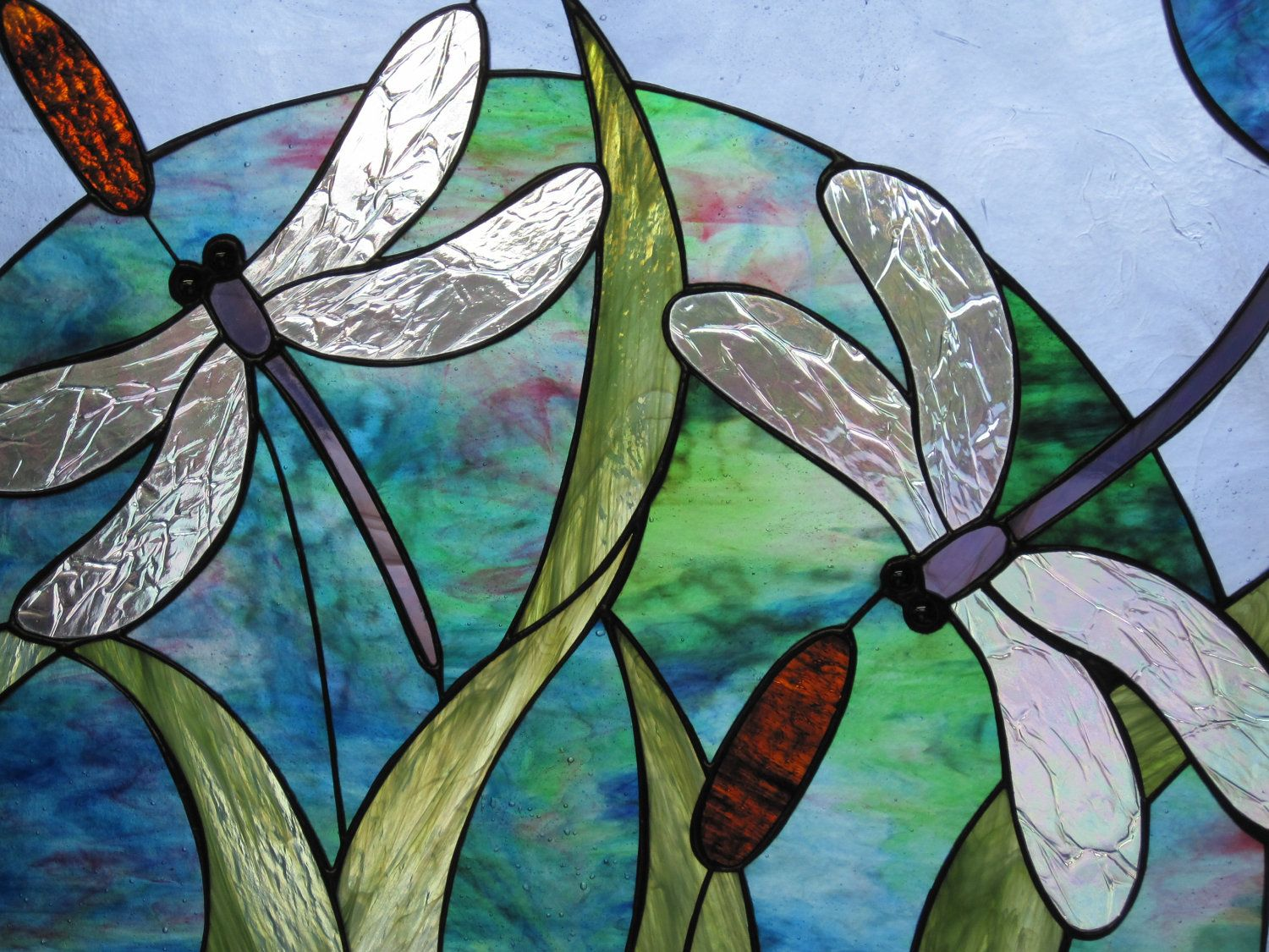 Stained Glass Double Dragonfly And Cattail Panel Dragonfly